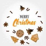 Feliz Natal! Cartão do feriado com bisquit do gengibre, especiarias, cones do pinho e elementos da caligrafia Fotos de Stock