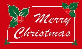 Feliz Natal cartão, elementos do projeto do azevinho ilustração stock