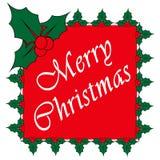 Feliz Natal cartão, elementos do projeto do azevinho ilustração royalty free