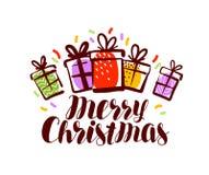 Feliz Natal, cartão ou bandeira Xmas, conceito do feriado Ilustração do vetor da rotulação ilustração stock