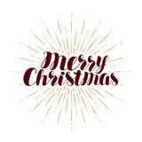 Feliz Natal, cartão Tipografia do Xmas Vetor escrito à mão da rotulação ilustração do vetor