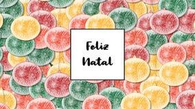 Feliz Natal Christmas-kaart met Kerstmissnuisterij als achtergrond, inzoomen stock videobeelden