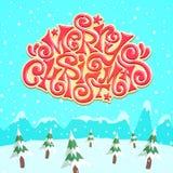 Feliz Natal coberto de neve fresco que rotula sobre a floresta do pinho Fotos de Stock Royalty Free