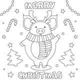 Feliz Natal colorindo da página ' ilustração stock
