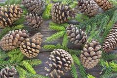 Feliz Natal com agulhas e cones do pinheiro na madeira Fotos de Stock Royalty Free