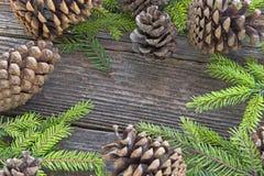 Feliz Natal com agulhas e cones do pinheiro no backg de madeira Fotos de Stock Royalty Free