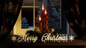 Feliz Natal com as cortinas das velas dos ornamento na janela e fora das coníferas e de nevar ilustração do vetor