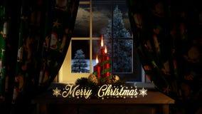 Feliz Natal com as cortinas das velas dos ornamento na janela e fora das coníferas e de nevar ilustração stock