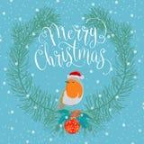 Feliz Natal com pássaro Imagens de Stock Royalty Free