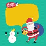 Feliz Natal com Papai Noel e boneco de neve Imagem de Stock Royalty Free