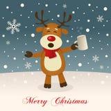 Feliz Natal com rena bêbada ilustração royalty free