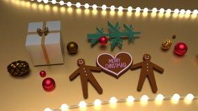 Feliz Natal cumprimento da forma do coração e homens de pão-de-espécie ilustração royalty free