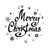 Feliz Natal da frase Rotulação com neve-flocos calligraphic ilustração do vetor