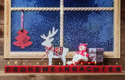 Feliz Natal, decorações da janela Foto de Stock Royalty Free