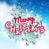 Feliz Natal decorativo colorido do texto no céu Fotos de Stock Royalty Free