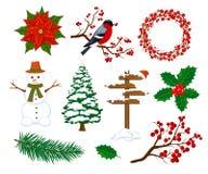 Feliz Natal do inverno e artigos dos elementos da decoração dos objetos do ano novo feliz ajustados Imagens de Stock Royalty Free