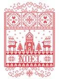 Feliz Natal do teste padrão do Natal no teste padrão sem emenda de Yule do deus norueguês inspirado pelo ofício festivo do invern ilustração stock