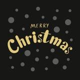 Feliz Natal dourado caligráfico da frase para o cartão ou a bandeira de Fotos de Stock Royalty Free