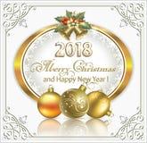 Feliz Natal e ano novo feliz 2018 Imagens de Stock Royalty Free