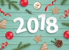 Feliz Natal e ano novo feliz 2018! ilustração do vetor