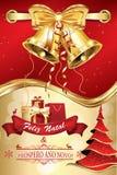 Feliz Natal e Ano Novo! Boas Festas! Glad jul och lyckligt nytt år, lycklig ferie - portugisiskt företags hälsningkort med Royaltyfria Bilder