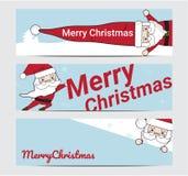 Feliz Natal e ano novo feliz com bandeira de Santa Background Illustration ilustração do vetor