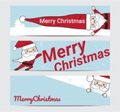 Feliz Natal e ano novo feliz com bandeira de Santa Background Illustration Fotografia de Stock