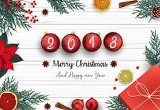Feliz Natal e ano novo feliz 2018 com decoração do Natal e as bolas vermelhas do Natal ilustração stock