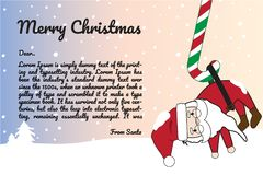 Feliz Natal e ano novo feliz com Santa Background Illustration engraçada Fotos de Stock