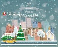 Feliz Natal e ano novo feliz em Wisconsin Cumprimentando o cartão festivo dos EUA Cidade nevando do inverno com as casas acolhedo ilustração stock
