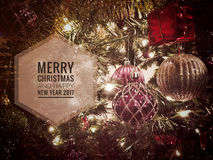 Feliz Natal e ano novo feliz 2017 Imagens de Stock Royalty Free