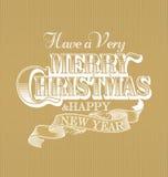 Feliz Natal e ano novo feliz caligráficos com elementos Imagens de Stock Royalty Free