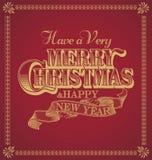 Feliz Natal e ano novo feliz caligráficos e quadro do ornamento no fundo vermelho Fotos de Stock Royalty Free
