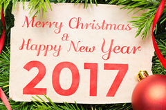 Feliz Natal e ano novo feliz 2017 Decoração do Natal Imagens de Stock Royalty Free