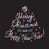 Feliz Natal e ano novo feliz feitos a mão ilustração stock
