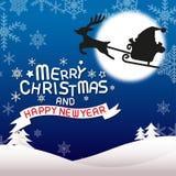 Feliz Natal e ano novo feliz, fritando Papai Noel Imagem de Stock