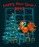 Feliz Natal e ano novo feliz fundo do cartão de 2017 invernos com o galo engraçado bonito ilustração do vetor