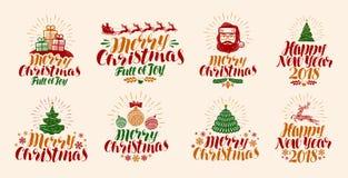 Feliz Natal e ano novo feliz, rotulando Xmas, época de Natal, grupo de etiqueta do feriado ou ícones Vetor da caligrafia ilustração do vetor