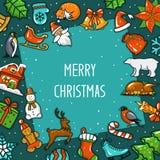Feliz Natal e ano novo feliz, sazonais, cartão do quadro do cumprimento do inverno com objetos do xmas da decoração ilustração stock