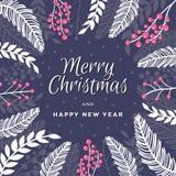 Feliz Natal e ano novo feliz Feriado bonito bandeira theamed com plantas e bagas do inverno imagens de stock