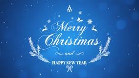 Feliz Natal e ano novo feliz no fundo azul imagem de stock royalty free