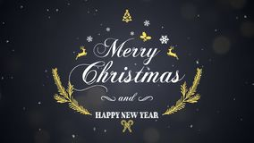 Feliz Natal e ano novo feliz no fundo escuro imagens de stock royalty free