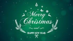 Feliz Natal e ano novo feliz no fundo verde imagens de stock