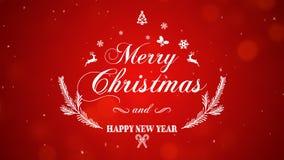 Feliz Natal e ano novo feliz no fundo vermelho foto de stock