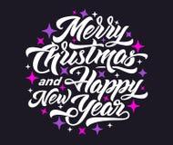 Feliz Natal e ano novo feliz 2019 que rotulam ilustração stock