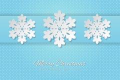Feliz Natal e ano novo feliz que rotulam a ilustração do vetor com o floco de neve no fundo azul ilustração stock
