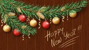 Feliz Natal e ano novo feliz 2019 Ramo verde de uma árvore na neve Decorações festivas do Natal ilustração do vetor