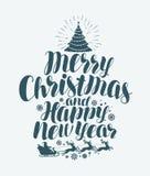 Feliz Natal e ano novo feliz, rotulação escrita à mão Cartão do Xmas Ilustração do vetor da caligrafia ilustração royalty free
