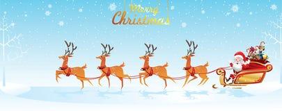 Feliz Natal e ano novo feliz Santa Claus é monta o trenó da rena com um saco de presentes na cena da neve do Natal Illus do vetor ilustração stock