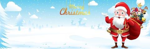 Feliz Natal e ano novo feliz Santa Claus está acenando com um saco de presentes na cena da neve do Natal ilustração Greetin do ve ilustração royalty free